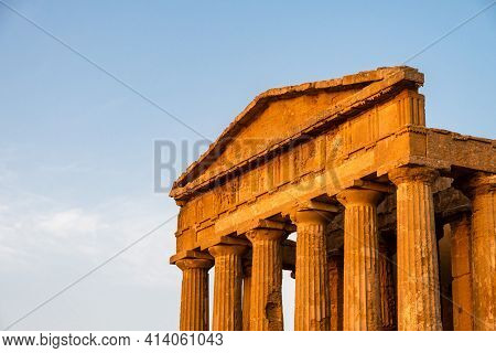 Close Up Of The Main Facade Of Concordia Temple In Agrigento, Sicily