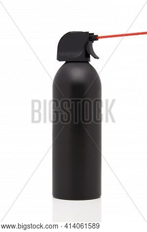 A Package Of Duster Canned Air. Black Can Of Air Duster Isolated Background. Clean Compressed Air Mo