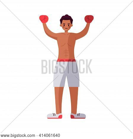 African American Boxer. Strong Man - Vector Illustration