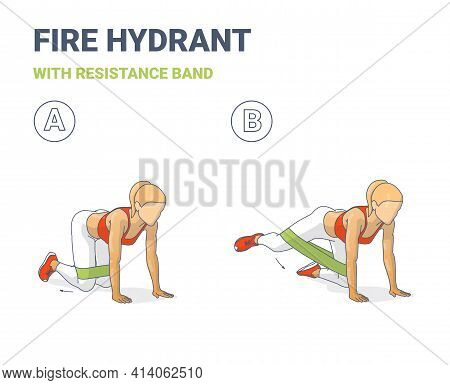 Fire Hydrant With Resistance Band, Female Home Workout Guidance, Or Hip Abduction Fitness Exercise.