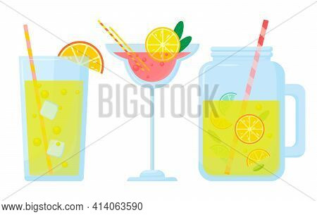 Vector Set Of Cocktails Isolated On White Background. Mikch Alcoholic And Non-alcoholic Drinks. A Se