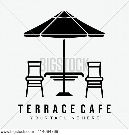 terrace cafe logo vector illustration design. umbrella street terrace cafe logo symbol