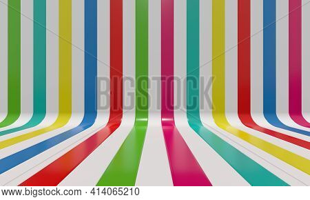 Realistic abstract geometric background with multicolor bright convergence stripes with shadows and glares. 3d rendering