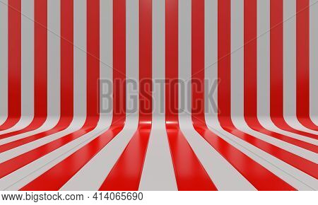 Realistic abstract geometric background with red and white convergence stripes with shadows and glares. 3d rendering