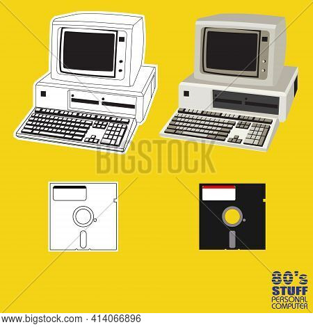 80s Personal Computer Vector For Design Element