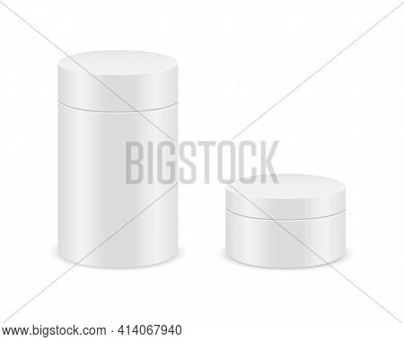 White Cylinder Boxes Isolated On White Background. Tube Cardboard Package Mockup For Product Design.