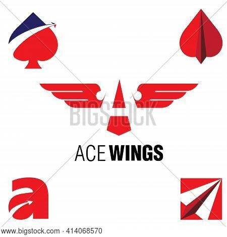 Ace Wings Symbol Vector Set For Aviation, Team. Or Any Other Purpose
