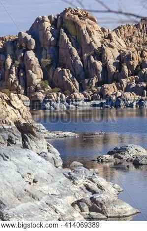 Rocky Formation And Desert Landscape At The Granite Dells, Watson Lake In Prescott Arizona