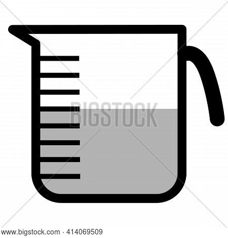 Measuring Cup Icon On White Background. Flat Style. Kitchen Measuring Cup Sign. Kitchenware Measurin