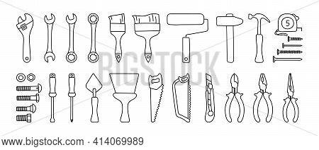 Construction Tools Vector Set. Black Line Doodle Sketch. Adjustable Wrench, Brush, Roller, Hammer An