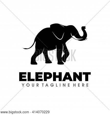 Elephant Logo. Elephant Logo Design Vector Silhouette Illustration