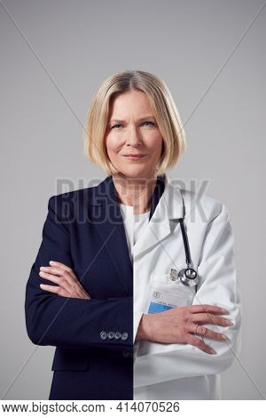 Concept Portrait Of Woman Showing Contrasting Day And Night Job Roles In Business And As Doctor