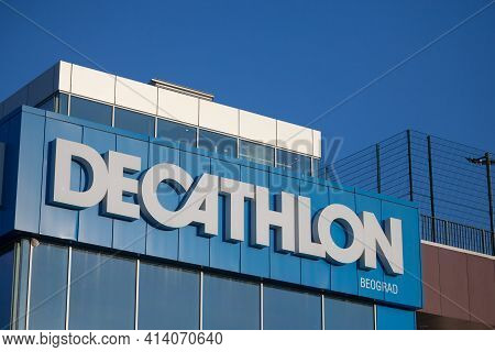 Belgrade, Serbia - February 28, 2021:decathlon Logo In Front Of Their Local Store In  Beograd. Decat