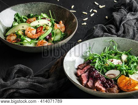 Fresh Salads With Avocado, Shrimps, Beef Steak, Tomatoes, Green Leaves, Arugula, Spinach, Chicken Br