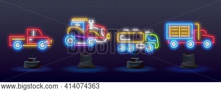 Color Neon Line Tractor Icon Isolated On Black Background. Toy Tractor Neon Icon. Elements Of Toys S