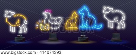 Animal Welfare Neon Light Concept Icon. Agriculture Neon Icons, Vector Neon Glow On Dark Background.
