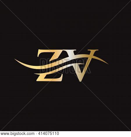 Zv Logo Design. Initial Zv Letter Logo Design.