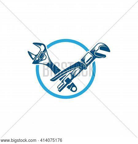 Service Plumbing Logo Design Vector Illustration, Creative Plumbing Logo Design Concept Template, Sy