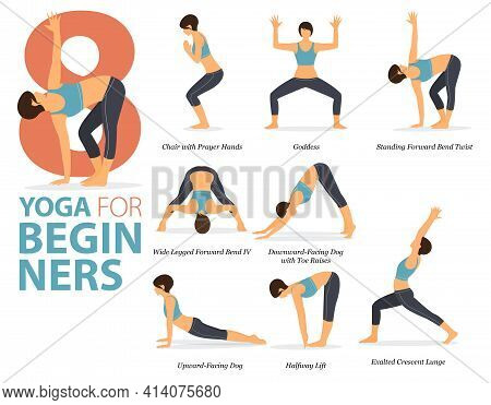 Infographic 8 Yoga Poses For Workout In Concept Of Yoga For Beginners In Flat Design. Women Exercisi