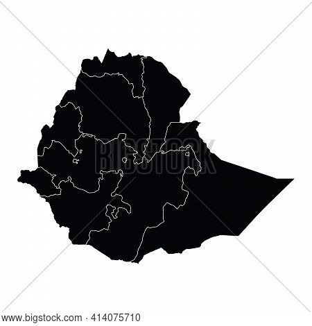 Ethiopia Country Map Vector With Regional Areas