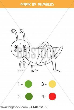 Coloring Page With Cute Grasshopper. Color By Numbers. Math Game For Kids.