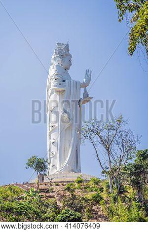 Majestic View Of The Lady Buddha Statue The Bodhisattva Of Mercy, Vietnam. White Ladybuddha Statue O