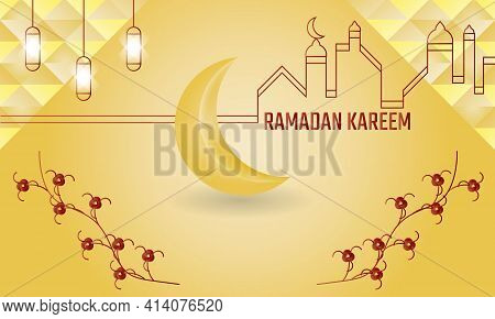 Ramadan Is Full Of Blessings, Golden Background And Moon With White Clouds. Very Suitable For A Chee