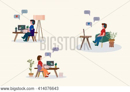 Vector Illustration Of Distance Education. Banner Of Distance Education For Students. Children Learn