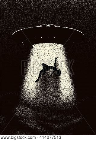 Alien Spaceship Kidnapping A Human With The Abduction Ray. Retro Styled Poster With Woman Or Man Tak