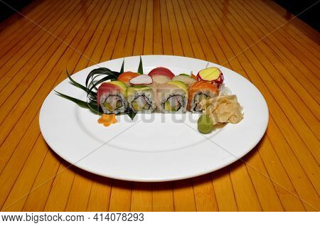 Traditional And Authentic Japanese Cusine Know As A Rainbow Sushi Roll
