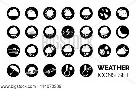 Weather Icons Set. Black And White Vector Illustrations. Sticky Symbols Of Forecast. Meteorological