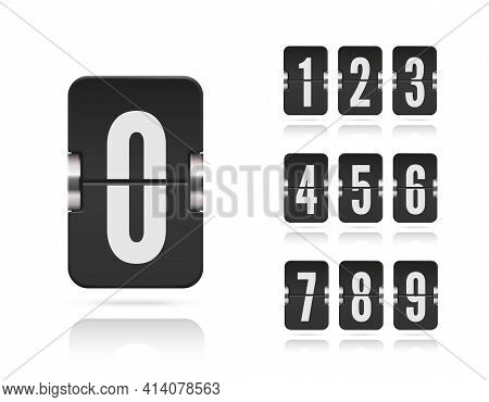 Numeric Floating Flip Scoreboard Set With Reflections For Vector Black Countdown Timer Or Web Page W