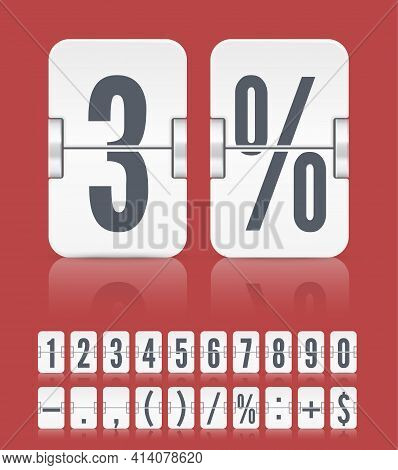 Vector Numeric Flip Scoreboard With Symbols And Reflections For White Countdown Timer Or Web Page Wa