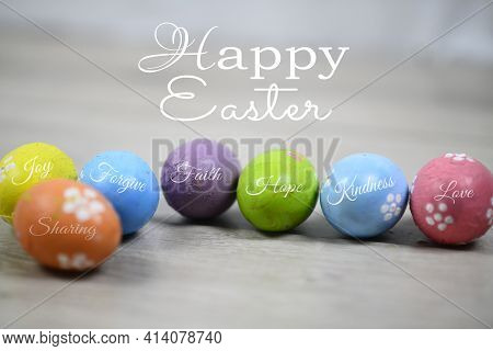 Happy Easter. Easter Eggs On A White Wooden Background. Bright Soft Colorful Easter Egg With Kind Si