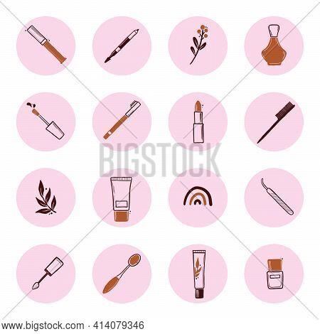 Hand Drawn Set Of Beauty Makeup Insta Story Highlight Elements, Mascara, Cream Bottle, Nail Product,