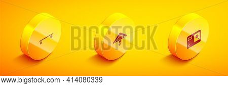 Set Isometric Longboard Or Skateboard, Hang Glider And Action Extreme Camera Icon. Vector