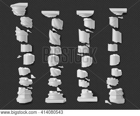 Broken Antique Pillars White Ruined Columns Pieces