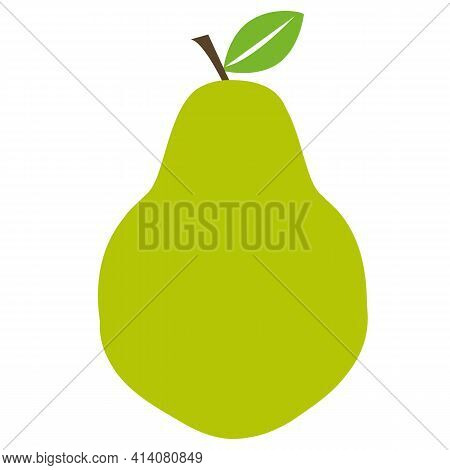 Pear Icon On White Background. Flat Style. Green Pear Sign. Fresh Pear Symbol.