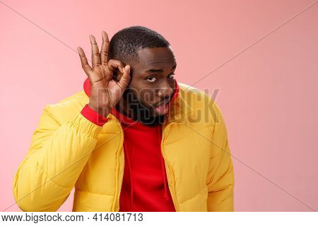 Curious Funny Charismatic Black Bearded Guy Bending Forward Hold Hands Ear Eavesdropping Wanna Overh