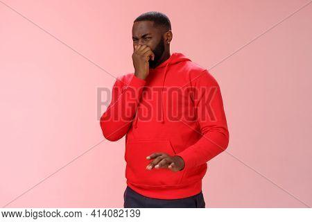 Intense Bothered African American Man Feel Unwell Close Nose Cringe Dislike Aversion Wanna Puke Smel