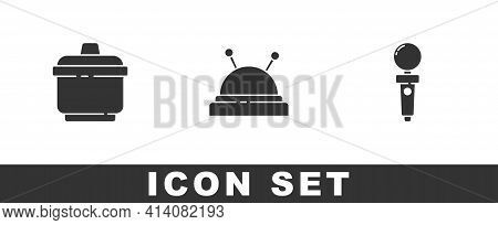 Set Cooking Pot, Needle Bed And Needles And Joystick For Arcade Machine Icon. Vector