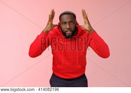 Annoyed Pressured Guy Gonna Blow Up Anger Losing Temper Someone Stupid Nonsense Raising Hands Near H