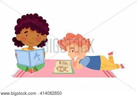 Little Boy And Girl In Kindergarden Sitting On The Floor And Reading Fairy Tale Vector Illustration