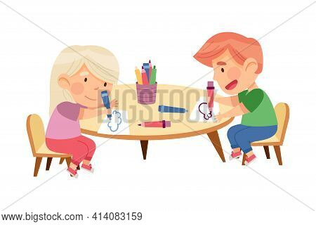 Little Boy And Girl At Table Drawing With Felt Pens In Kindergarden Vector Illustration