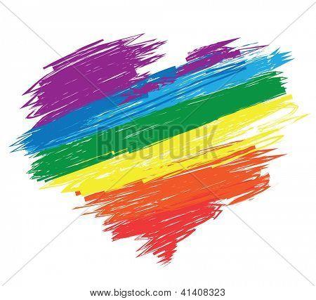 Rainbow heart. Valentine's day illustration