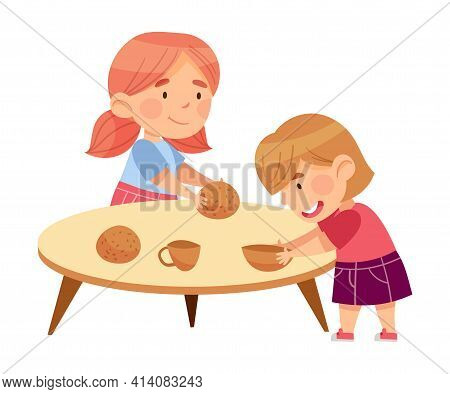 Cute Little Girls In Kindergarden At Table Playing With Pottery Ware Vector Illustration