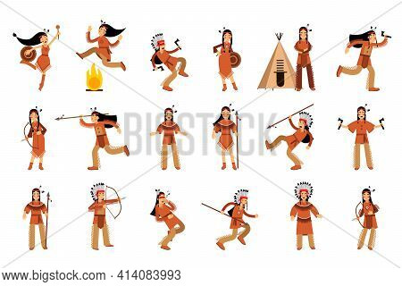 Red Indian Or American Indians Men And Woman In National Clothing Standing With Spear And Dancing Ve