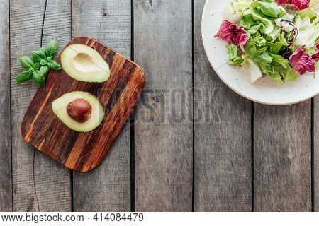Healthy Eating Concept Flat Lay. Mediterranean Diet, Plate With Fresh Green Lettuce Salad Leaves, Pu