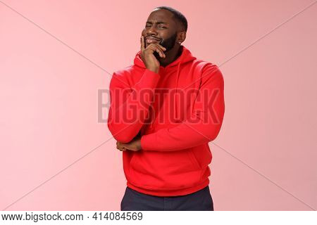 Doubtful Sceptical Young African-american Hesitant Bearded Guy Frowning Sarcastic Unsure Touching Ch