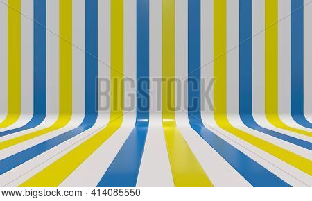 Realistic abstract geometric background with blue, yellow and white convergence stripes with shadows and glares. 3d rendering
